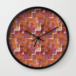 Orange geo and florals Wall Clock