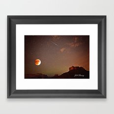 Sedona Blood Moon Eclipse with Shooting Star Framed Art Print