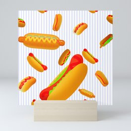 Hot Dog Pattern With Pinstripes Mini Art Print