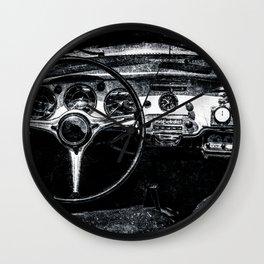 Interior Of A Luxury Car Black White Wall Clock