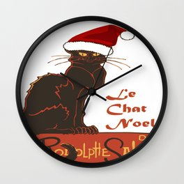 Le Chat Noel Christmas Vector Wall Clock