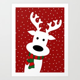 Reindeer in a snowy day (red) Art Print