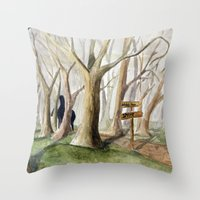 middle earth Throw Pillows featuring Middle Earth by Jeff Moser Watercolorist