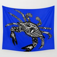 crab Wall Tapestries featuring Blue Crab  by Casey Virata