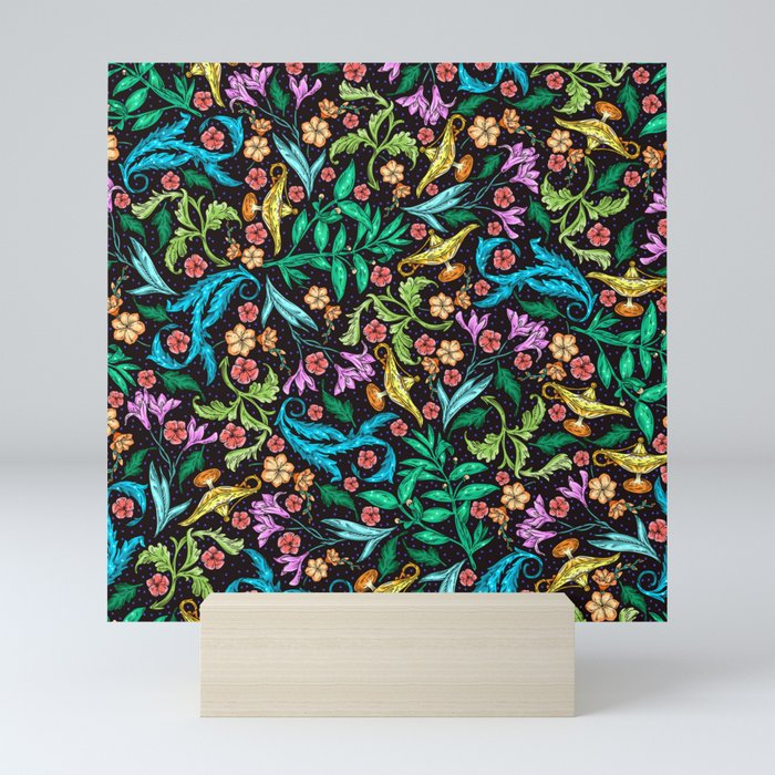 Asian Theme Lucky Genie Lantern Floral Print Mini Art Print