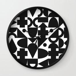 Blocks   B&W Wall Clock