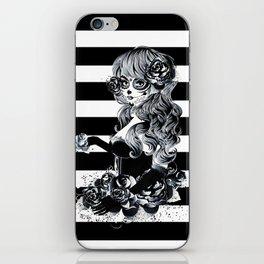 Black & White Sugar Skull Girl iPhone Skin