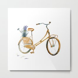 Watercolor Bicycle with a Watering Can Full of Lavender Metal Print