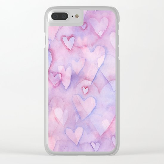 Pink Hearts Pattern Clear iPhone Case