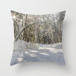 Covered in White Throw Pillow