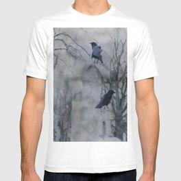 Crows In A Gothic Gray Wash T-shirt