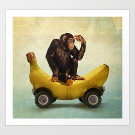 Chimp my Ride Art Print