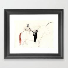 The horse senses it Framed Art Print