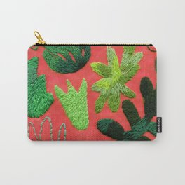 tropical leaves embroidered pattern Carry-All Pouch
