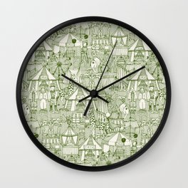 retro circus green ivory Wall Clock