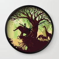 king Wall Clocks featuring The jungle says hello by Picomodi
