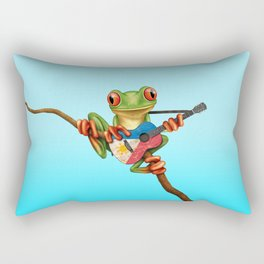 Tree Frog Playing Acoustic Guitar with Flag of Philippines Rectangular Pillow
