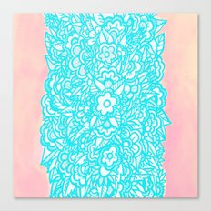 Illustrated Flowers and Leaves - turquoise blue, pink, white Canvas Print