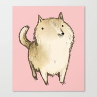 shiba inu Canvas Prints featuring Shiba Inu by Sophie Corrigan
