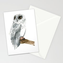 Watercolor Grey Owl Stationery Cards