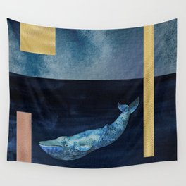 Blue Whale - Gold, Copper And Deep Blue Wall Tapestry