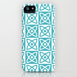 Mid Century Modern Atomic Check 140 Turquoise iPhone Case