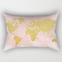 Gold Glitter Map, Nursery Art, Pink Gold, Pastels Rectangular Pillow