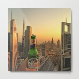 dubai skyline at dusk Metal Print