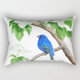Royal Blue-Indigo Bunting in the Dogwoods by Teresa Thompson Rectangular Pillow