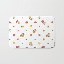 Bell Peppers and Guinea Pigs Pattern in White Background Bath Mat