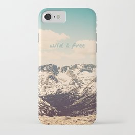 Wild and Free Faded Colorado Mountains Landscape, Clouds, blue skies, rockies iPhone Case