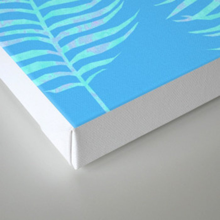 Fern pattern on light blue background Canvas Print