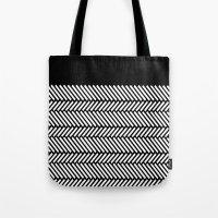 herringbone Tote Bags featuring Herringbone Boarder by Project M