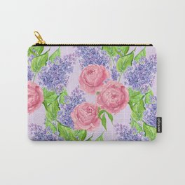 Watercolor peonies and lilacs Carry-All Pouch