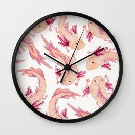 Mexican Axolotls Watercolor Wall Clock