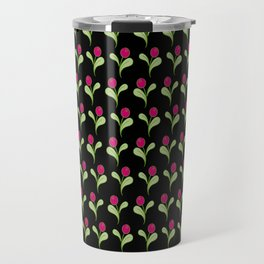Folk Flowers On Black Travel Mug