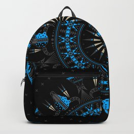 Buffalo Skull and Feathers (Blue) Backpack
