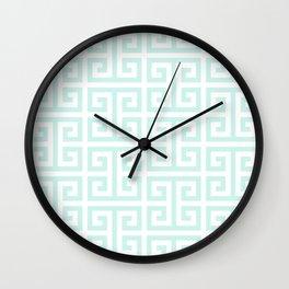 Light Mint and White Greek Key Pattern Wall Clock