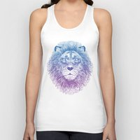 golden Tank Tops featuring Face of a Lion by Rachel Caldwell