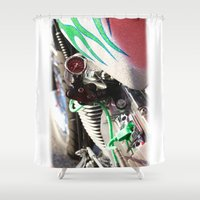 motorcycle Shower Curtains featuring Motorcycle by Carlo Toffolo