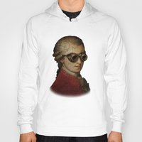 mozart Hoodies featuring Funny Steampunk Mozart by Paul Stickland for StrangeStore