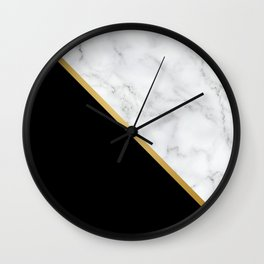 Marble, Black, White, Gold, Abstract Color Block Wall Clock