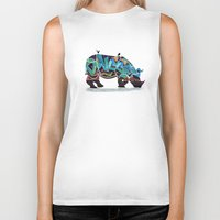rhino Biker Tanks featuring Rhino by mark ashkenazi