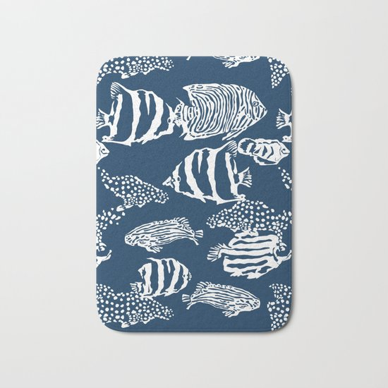 fish pattern vector illustration with stripes and dots Bath Mat