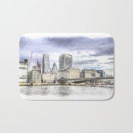 City of London and River Thames Snow Art Bath Mat