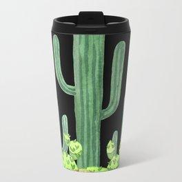 Night Desert Prickly Cactus Bunch Metal Travel Mug
