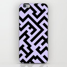 Black and Pale Lavender Violet Diagonal Labyrinth iPhone Skin