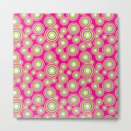Circles on pink background Metal Print