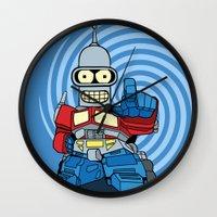 bender Wall Clocks featuring Optimus Bender by darko888
