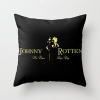 whisky Throw Pillows featuring Rotten Whisky by PsychoBudgie
